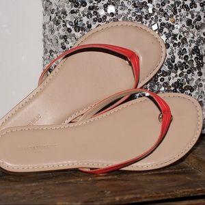Orange leather sandals flip flops